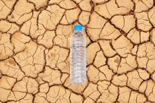 A Water Bottle On Dry And Crac...