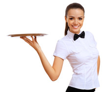 Young Waitress In A White Blouse