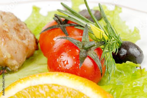 In de dag Verse groenten tomato in the meal