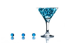 Martini Glass With Blue Water Gel