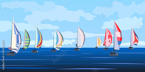 Fototapeta Vector illustration of sailing yacht regatta.