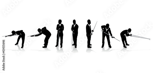 Fotografie, Tablou  set of snooker player silhouettes
