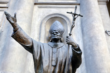 Statue Of Pope John Paul The 2nd In Warsaw, Poland.