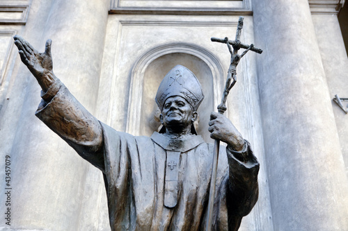 Statue of Pope John Paul the 2nd in warsaw, Poland. Fotobehang