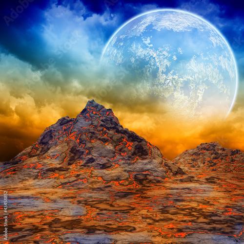 Obraz Ciemny krajobraz fantazji - fototapety do salonu