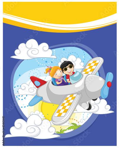 Papiers peints Avion, ballon Flying kids vector illustration