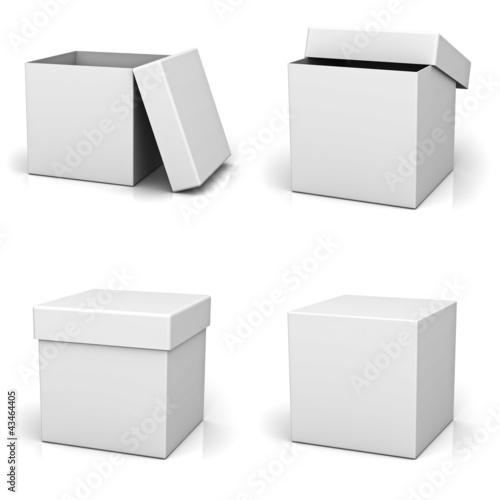 Photographie  Collection de boîte blanche sur fond blanc