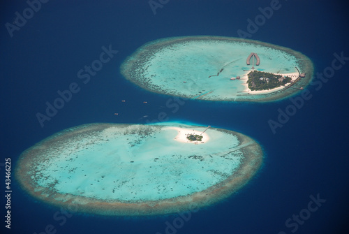 Photo Maldivian atoll aerial view