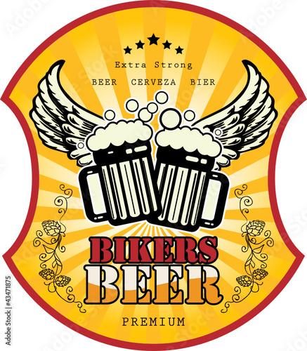 Bikers Beer label, vector illustration