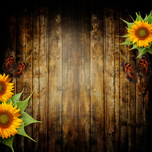 Wooden Bacground With Butterfly And Sunflowers
