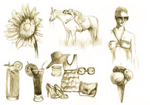 Summer Time - Collection, Hand Drawing Converted Into Vector