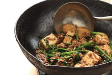Chinese Cuisine, Cooking Of Tofu And Mince Stir Fried