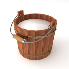 Wooden Bucket With Milk On Whi...