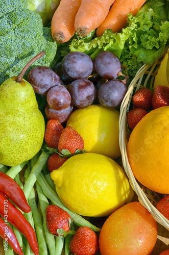 Fresh Fruit and Vegetables under warm morning light - 43487293