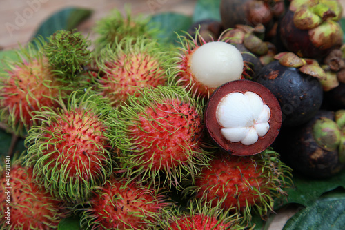 Papiers peints Cactus Mangosteen and rambutan are one of delicious thai fruit