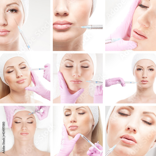 A collage of images with young woman on a botox procedure #43497080