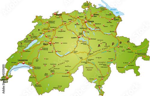 Fotografie, Obraz  Landkarte der Schweiz mit Autobahnen