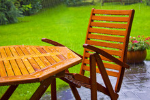 Garden Table Stands In The Rain