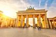 canvas print picture - Brandenburg gate at sunset