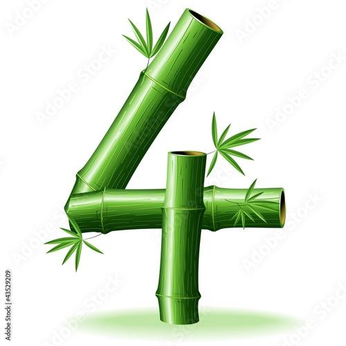Foto auf AluDibond Ziehen Bambù Numero 4-Bamboo Logo Sign Number 4-Vector