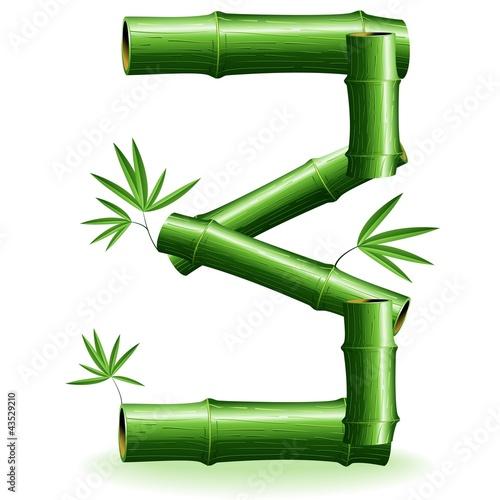 Foto auf AluDibond Ziehen Bambù Numero 3-Bamboo Logo Sign Number 3-Vector