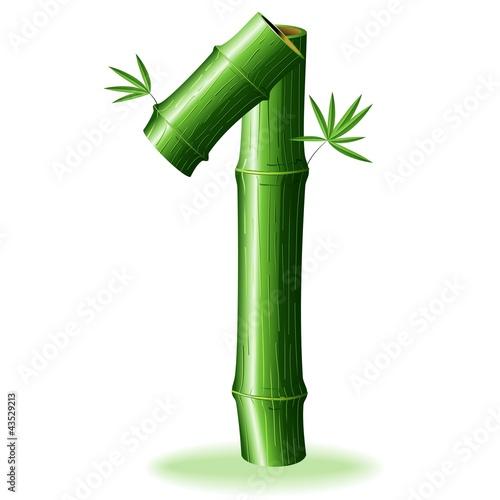 Foto auf AluDibond Ziehen Bambù Numero 1-Bamboo Logo Sign Number 1-Vector