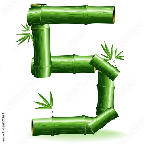 Foto auf AluDibond Ziehen Bambù Numero 5-Bamboo Logo Sign Number 5-Vector