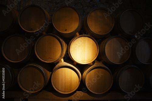 Photo Wine barrels in a old wine cellar