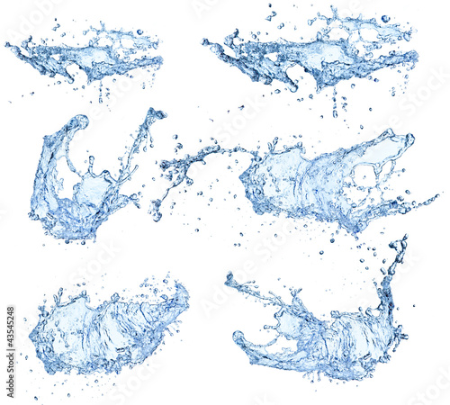 Foto op Plexiglas Water Water splashes collection isolated on white background