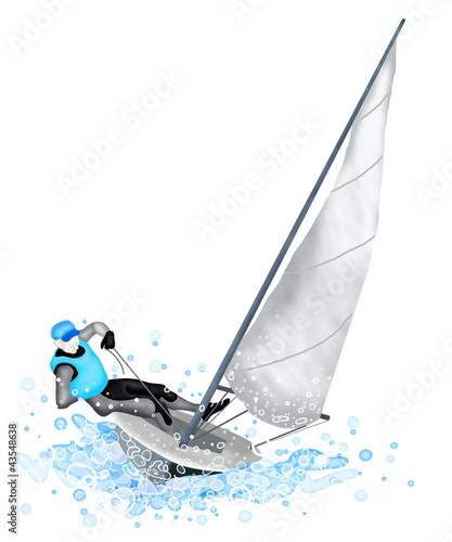 Tuinposter Zeilen Sailing Boat Blasting Through A Wave During A Race