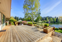 Large Wood Deck With Lake And ...