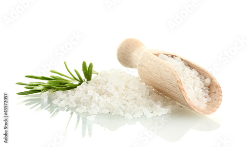 Fotobehang Kruiden 2 salt with fresh rosemary isolated on white