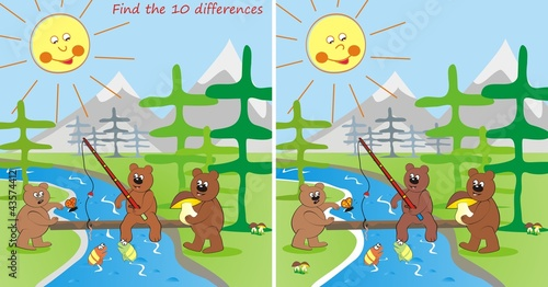 Wall Murals Bears 3 bears - find the 10 differences