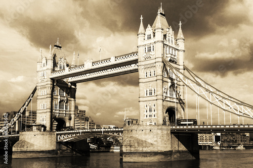 Vintage view of Tower Bridge, London. Sepia toned. #43575642