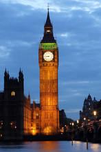 Illuminated Big Ben At Night