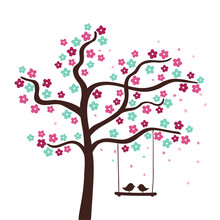Spring Flower Tree With Two Birds