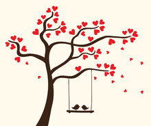 Vector Hearts Tree