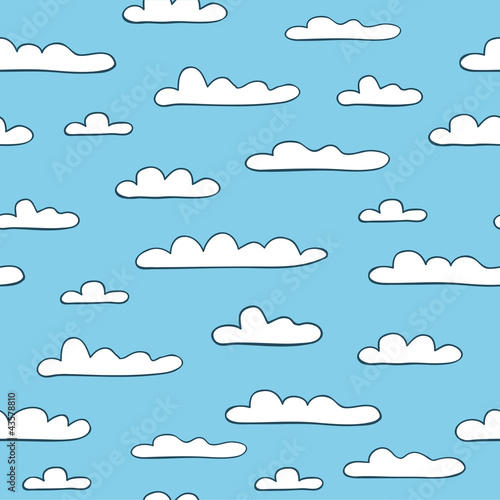 Tuinposter Hemel Seamless cloudy background. Vector illustration