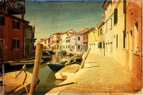 Staande foto Rotterdam Burano, Venice - old paper - old card