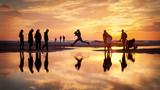Fototapeta Fototapety z morzem do Twojej sypialni - skok woda plaża odbicie ludzie sylwetki plaża