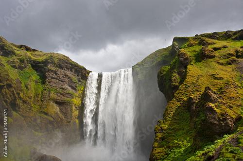 waterfall green iceland