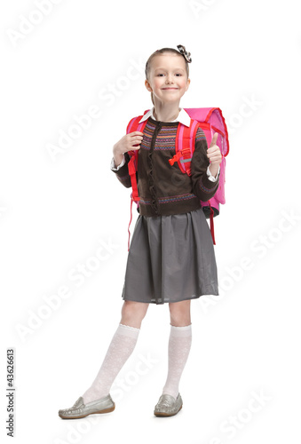 Pupil is ready to go to school, isolated, white background Canvas Print