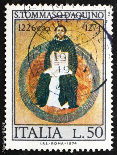 Fotografie, Obraz  Postage stamp Italy 1974 St. Thomas Aquinas, by Francesco Traini