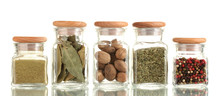 Powder Spices In Glass Jars  I...