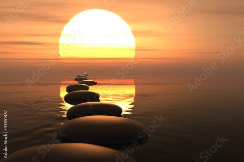 Doppelrollo mit Motiv - Zen path of stones in sunset (von dampoint)