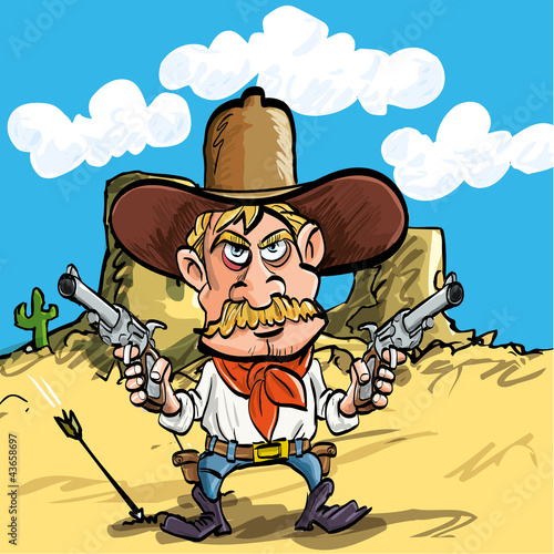 Aluminium Prints Wild West Cartoon cowboy drawing his guns