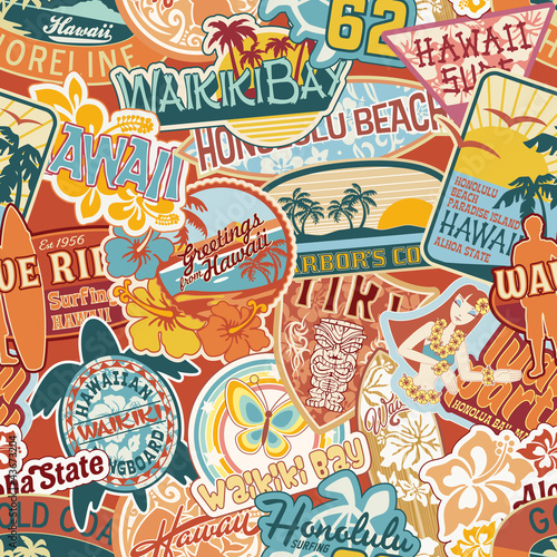 Cotton fabric Hawaii stickers patchwork seamless pattern