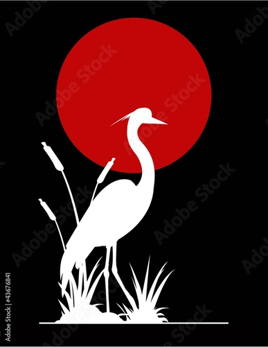 Acrylic Prints Red, black, white heron silhouette with giant moon background