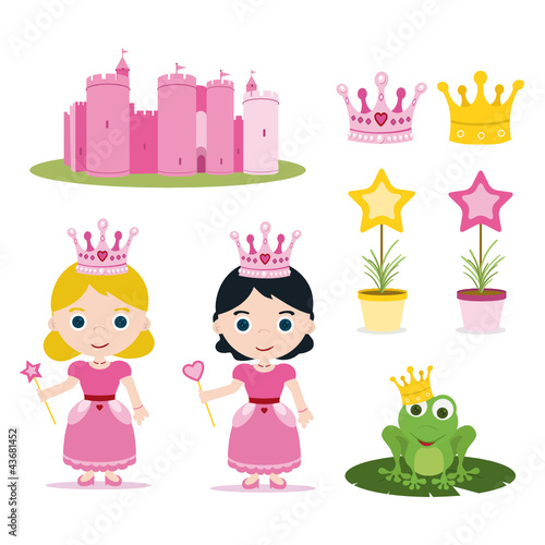 Poster Castle set of pink princess tale for parties
