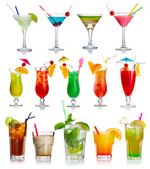 Fototapeta Set of alcohol cocktails isolated on white